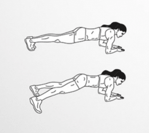 Elbow plank step-outs