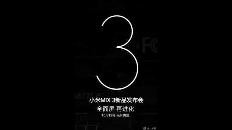 Xiaomi's Mi Mix 3 arriving on October 15: Price, Features & Specifications