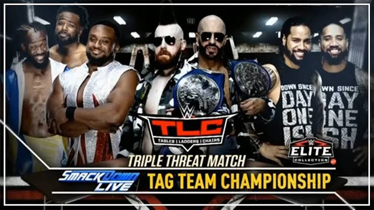 SMACKDOWN TAG TEAM CHAMPIONSHIP – THE BAR (c) vs THE NEW DAY vs THE USOS