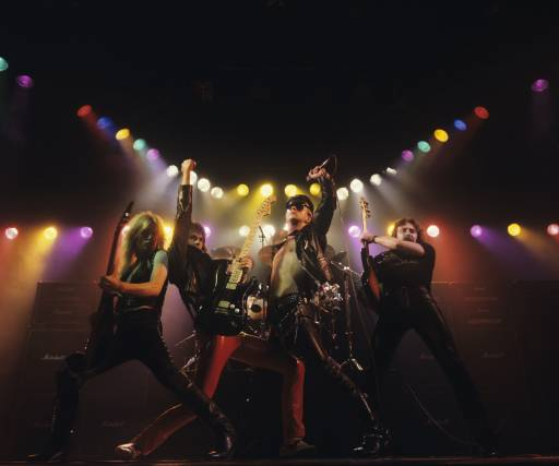 (L-R) K.K. Downing, Glenn Tipton, Rob Halford and Ian Hill of Judas Priest perform onstage — 'Unleashed In The East' album cover session taken on July 1, 1979.