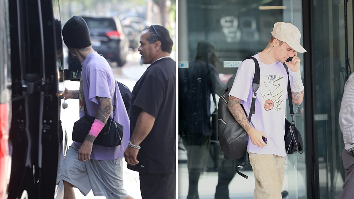 Justin Bieber with IV Drip leaves the medical building