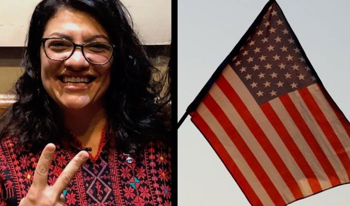 To Hang ' Altered ' U.S. Rashida Tlaib Vows. Flag outside her office at the Congress
