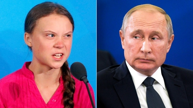 Putin means that climate activist Greta Thunberg is used to serve the interests of others