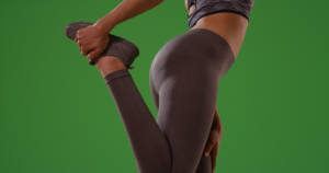 woman stretching lower body