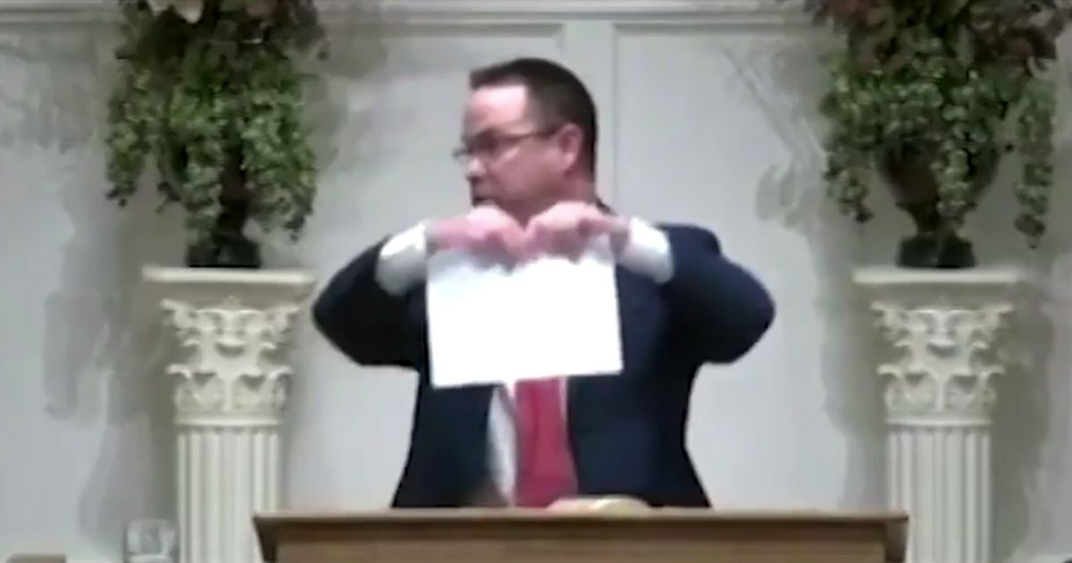 Watch: Pastor says 'We're going to do it in the spirit of Heaven' as the letter is shredding.