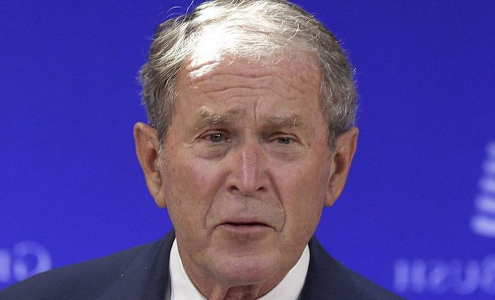 Former President George W. Bush teamed up with former President Bill Clinton to attack President Trump's foreign policy on Wednesday.
