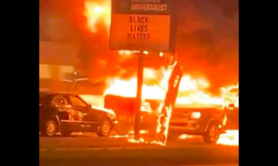 Tragic Irony BLM Rioters Torch Church With Black Lives Matter