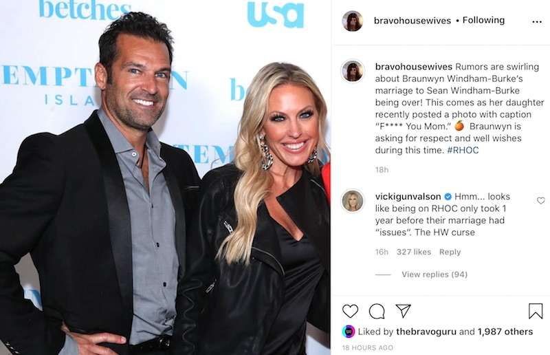 RHOC Vicki Gunvalson Comments on Braunwyn Windham-Burke Marriage Rumors