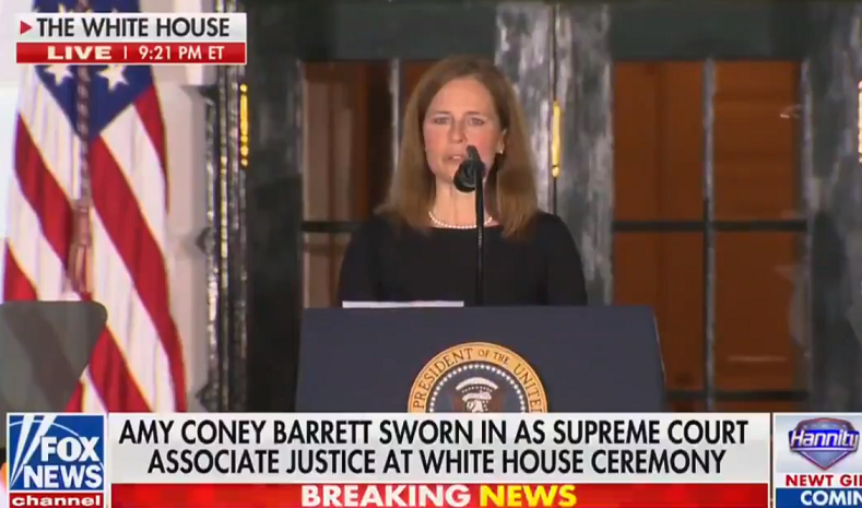 """Justice Amy Coney Barrett: """"I love the Constitution and I will do my best to protect it"""""""
