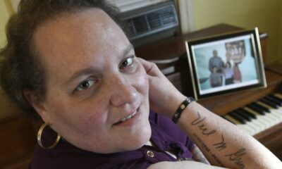 Christina Grim displays a memorial tattoo to her mother, Verl Grim, at her home in Littlestown