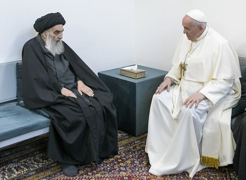 After meeting with Pope Francis, Iraq's Shiite leader reaffirms coexistence.