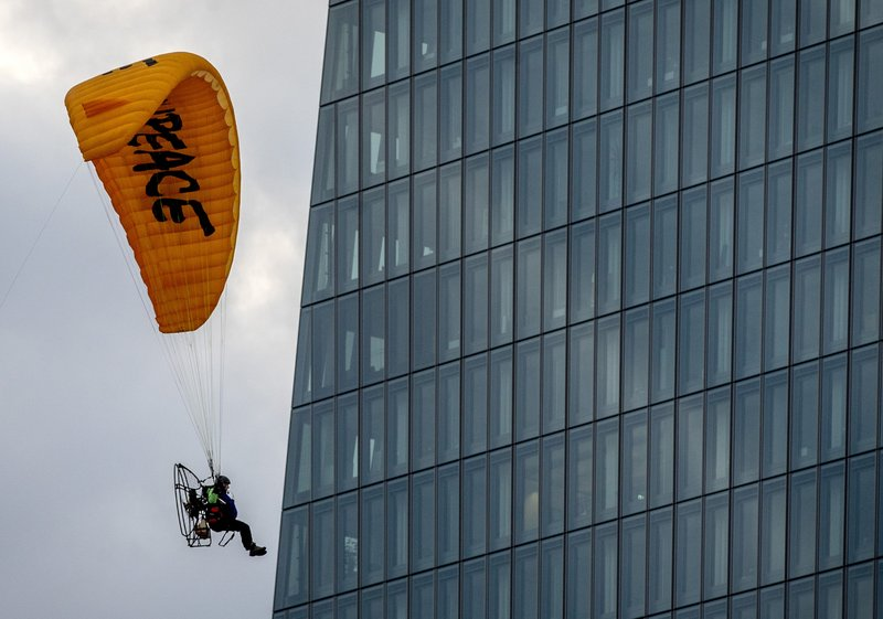 Greenpeace is protesting the European Central Bank's (ECB) loans to carbon-intensive industries.