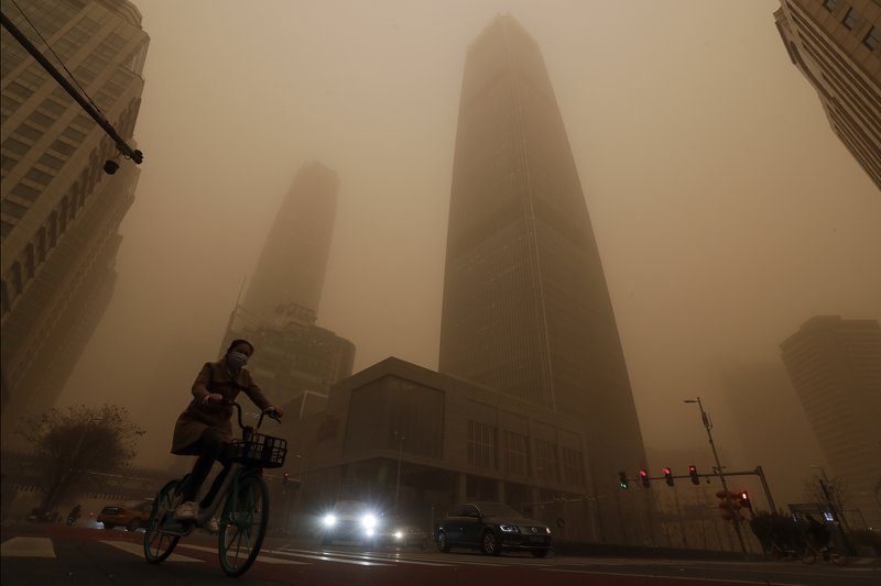 Flights have been cancelled in China due to the worst sandstorm in a decade.