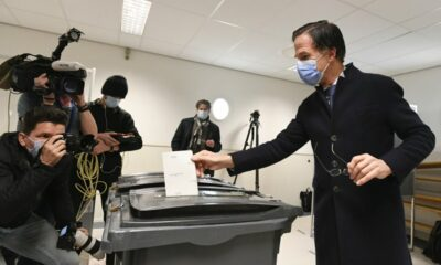 The virus-affected Dutch election is down to the wire; Rutte is the favorite.