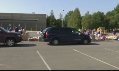 Mass food distribution at Crosstown Plaza in Schenectady