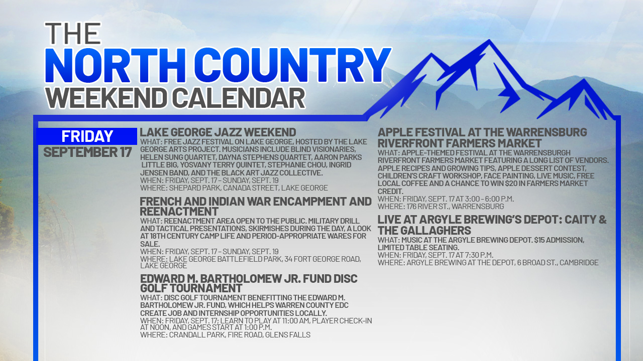 North Country Weekend Calendar: Smooth jazz and local history in Lake George
