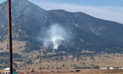 Wildfire burning in the foothills west of Arvada