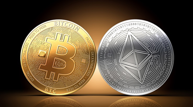 Picture of a gold bitcoin next to a silver Ethereum coin