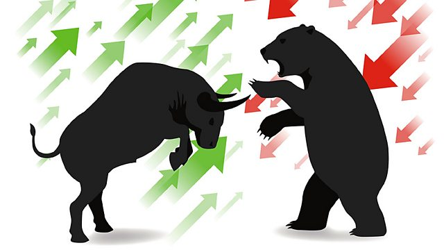 Picture of a bull with green arrows behind it fending off a bear with red arrows behind it