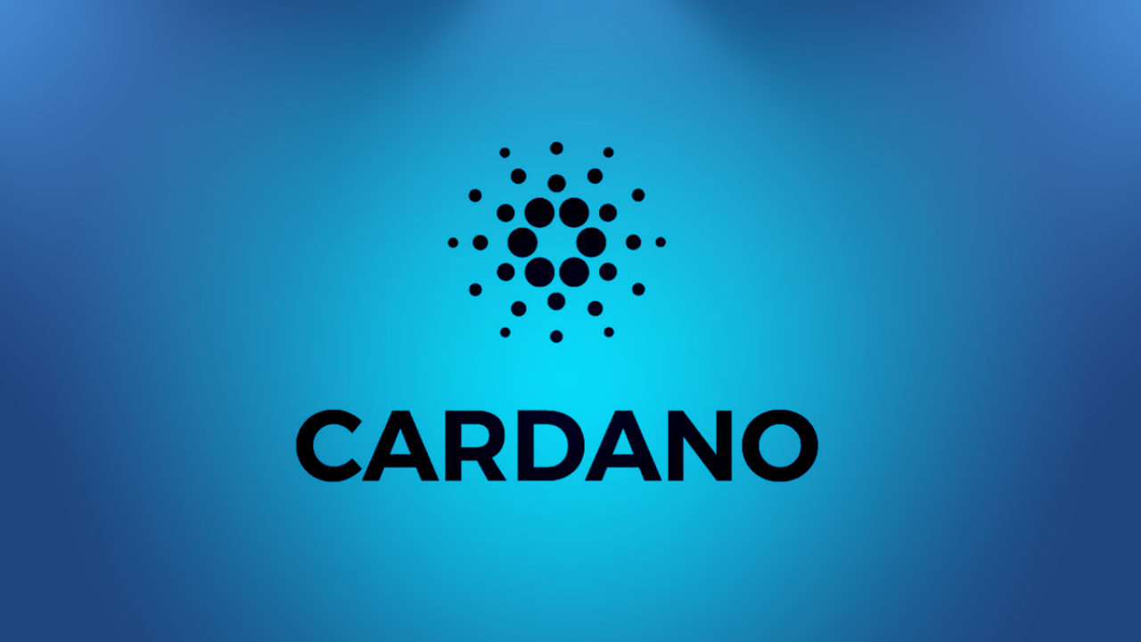 Picture of Cardano and its logo on a light blue background