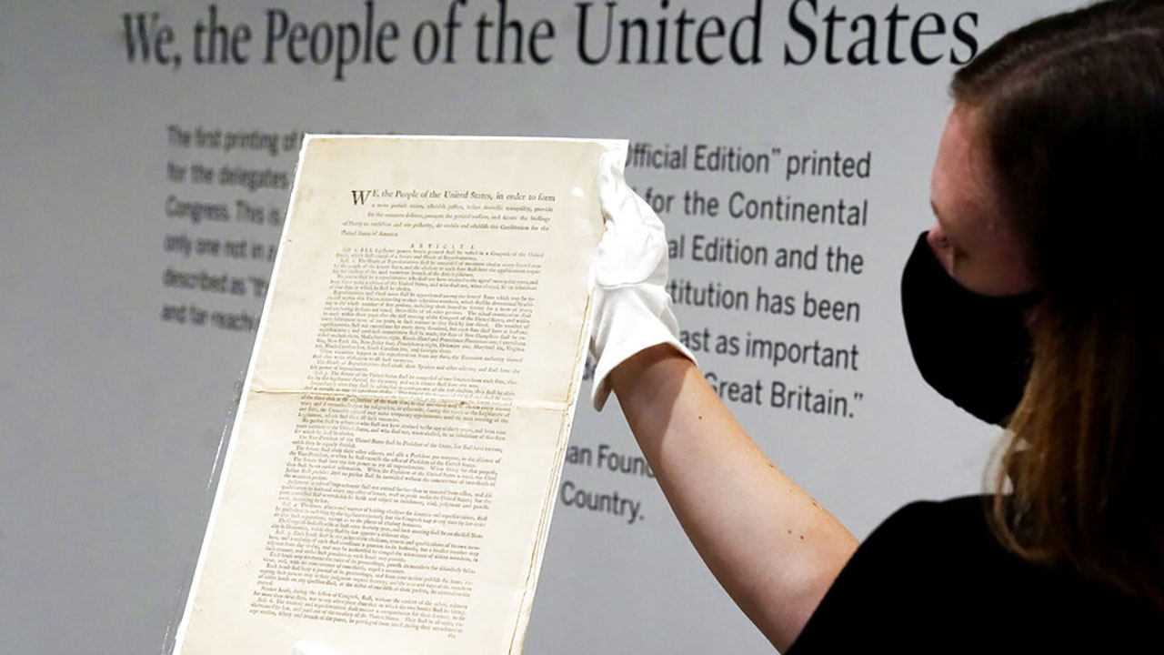Rare first printing of US Constitution to be auctioned by Sotheby's