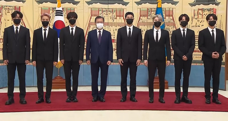 President Moon accompanied by BTS