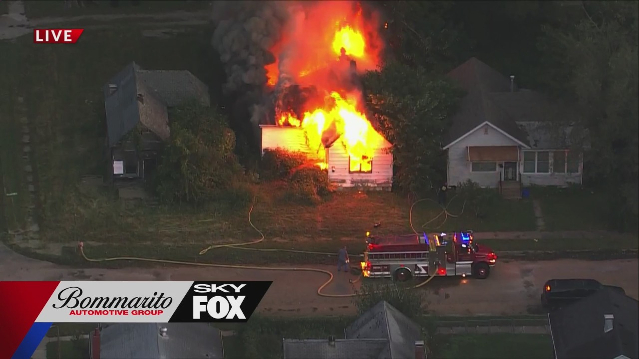 Home in Venice, Illinois engulfed in flames Wednesday morning