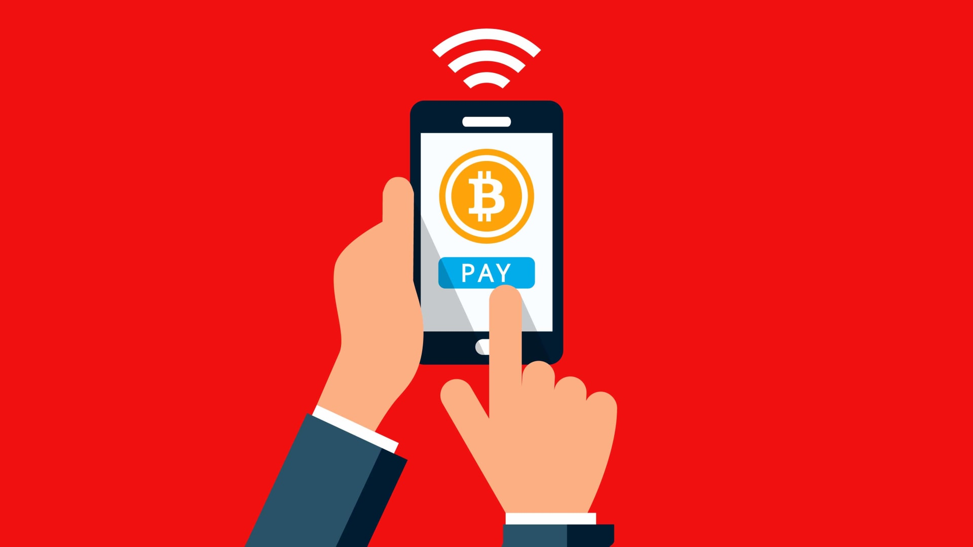 Picture of an animated hand clicking pay with bitcoin on a cellphone